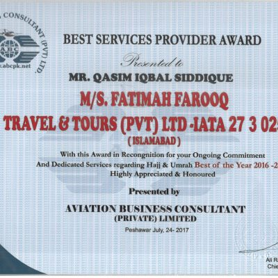 Best Services Award Certificate