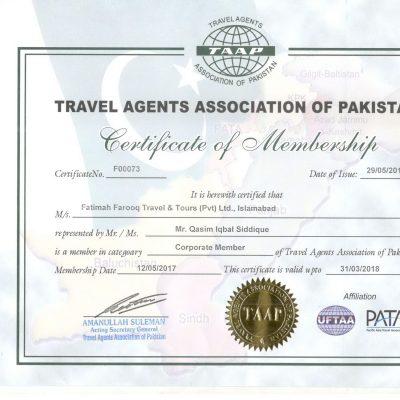 TAAP Certificate